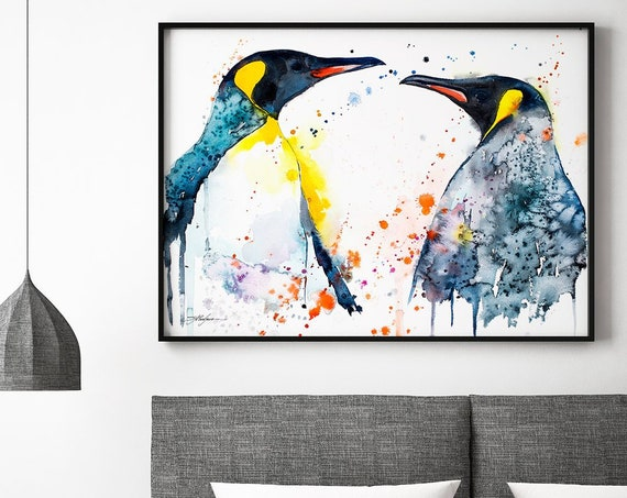 King Penguins Love watercolor framed canvas by Slaveika Aladjova, Limited edition, art, animal, animal illustration, bird art, Large Canvas
