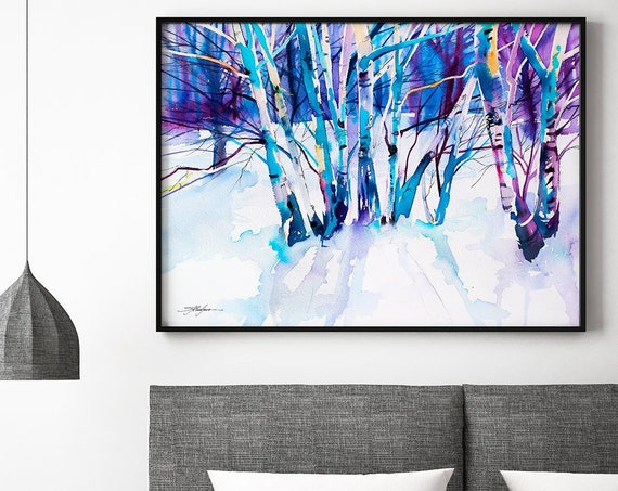 Birches landscape  watercolor framed canvas by Slaveika Aladjova, Limited edition, art, watercolor, illustration, art