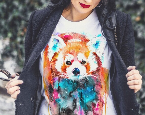 Red panda T-shirt, Ladies' T-shirt with Red panda print, women's tees, Panda Lover Gift idea, Graphic tee, ring spun Cotton 100%,