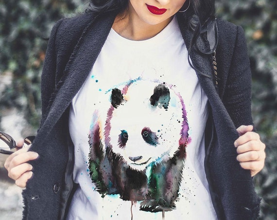Panda T-shirt, Unisex T-shirt, ring spun Cotton 100%, watercolor print T-shirt, T shirt art, T shirt animal, XS, S, M, L, XL, XXL