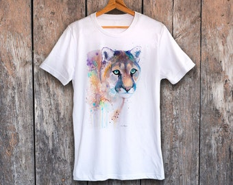 5faebb3c Puma T-shirt, Unisex T-shirt, ring spun Cotton 100%, watercolor T-shirt, T  shirt art, T shirt animal, XS, S, M, L, XL, XXL