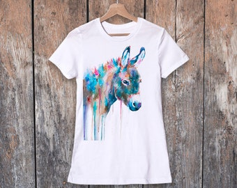 2a07e3401 Donkey T-shirt, Watercolor ladies' T-shirt, women's tees, Donkey Lover  Gift, Funny Donkey T-Shirt, ring spun Cotton 100%, watercolor print