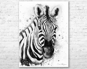 Black White Zebra Watercolor Painting Print By Slaveika Aladjova Horse Illustration Home Decor Nursery Gift Wildlife Wall Art