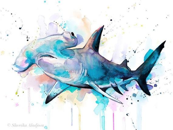 Original Watercolour Painting- Hammerhead shark art, animal, illustration, animal watercolor, animals paintings, animals, portrait,