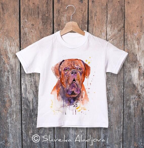 Dogue de Bordeaux watercolor kids T-shirt, Boys' Clothing, Girls' Clothing, ring spun Cotton 100%, watercolor print T-shirt,T shirt art