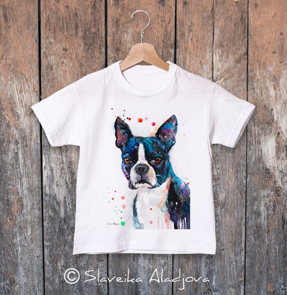 Boston Terrier watercolor kids T-shirt, Boys' Clothing, Girls' Clothing, ring spun Cotton 100%, watercolor print T-shirt, T shirt art,animal