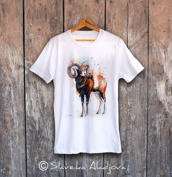 Mouflon T-shirt, Unisex T-shirt, ring spun Cotton 100%, watercolor print T shirt art,T shirt animal,XS, S, M, L, XL, XXL