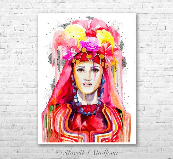 Fashion Illustration 3 watercolor painting print by Slaveika Aladjova, Woman art, Girl Illustration, Bulgarian national costume, wall art