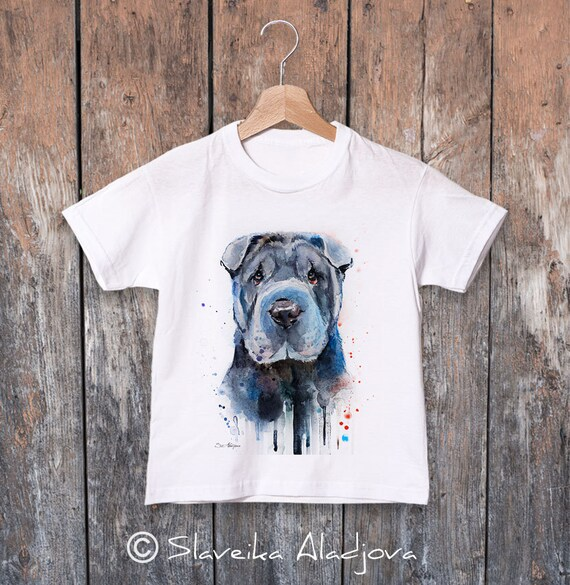 Shar Pei watercolor kids T-shirt, Boys' Clothing, Girls' Clothing, ring spun Cotton 100%, watercolor print T-shirt, T shirt art
