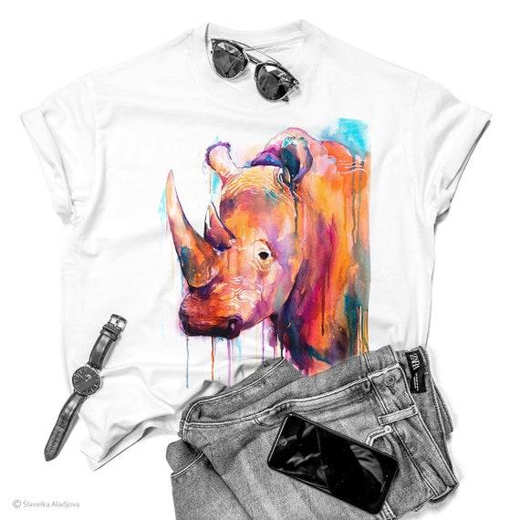 Colorful Rhino T-shirt, Unisex T-shirt, ring spun Cotton 100%, watercolor print T-shirt, T shirt art, T shirt animal,XS, S, M, L, XL, XXL