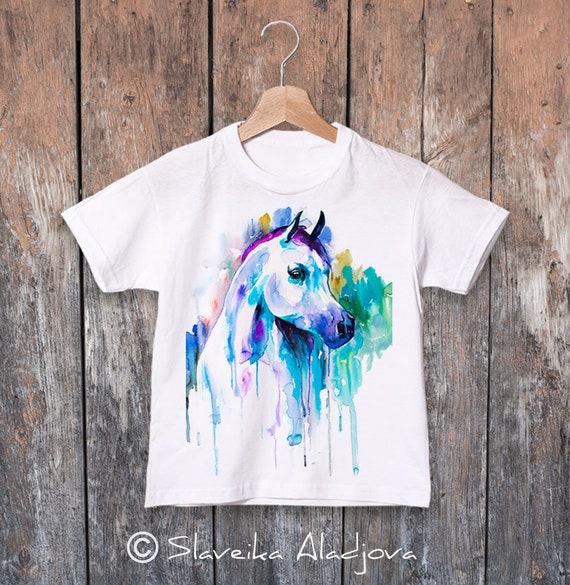 Horse T-shirt, Arabian horse print, Boys' T-shirt, Girls' tees, Cute horse tee, graphic T-Shirt, ring spun Cotton 100%