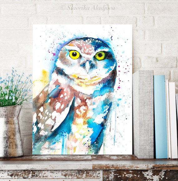 Burrowing owl watercolor painting print by Slaveika Aladjova, art, animal, illustration, bird, home decor, wall art, gift, Wildlife