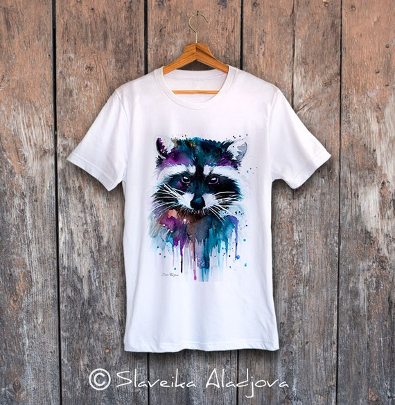 Raccoon T-shirt, Unisex T-shirt, ring spun Cotton 100%, watercolor print T-shirt, T shirt art, T shirt animal,XS, S, M, L, XL, XXL