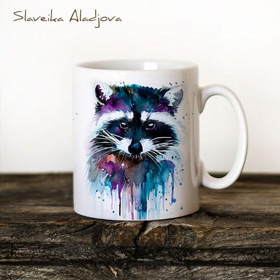 Raccoon Mug Watercolor Ceramic Mug Unique Gift Coffee Mug Animal Mug Tea Cup Art Illustration Cool Kitchen Art Printed mug