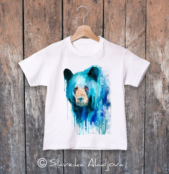 American black bear watercolor kids T-shirt, Boys' Clothing, Girls' Clothing, ring spun Cotton 100%, watercolor print T-shirt,T shirt art