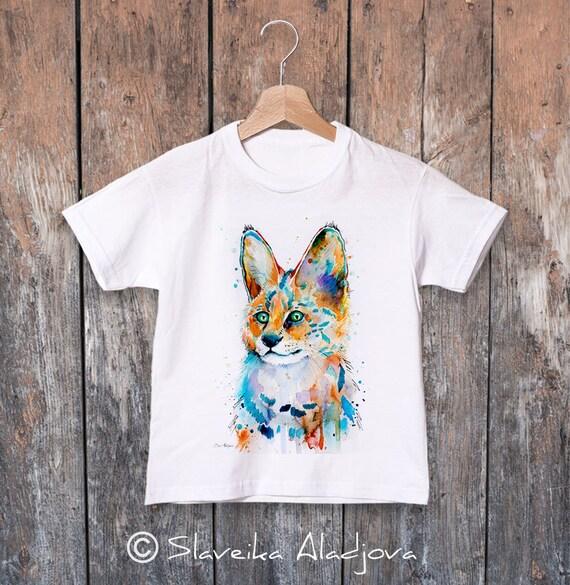 Serval watercolor kids T-shirt, Boys' Clothing, Girls' Clothing, ring spun Cotton 100%, watercolor print T-shirt,T shirt art