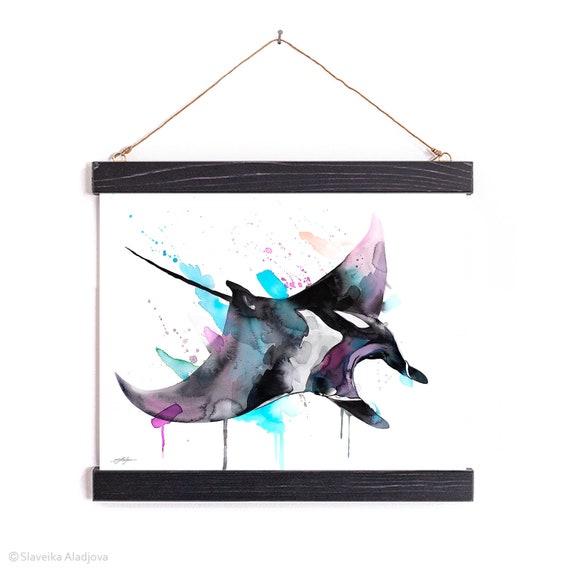 Giant Manta Ray Watercolor Painting Framed, Wall Hanging print, Animal, Home Decor, Wall Art, Illustration, Ready to Hang, Nursery, Print