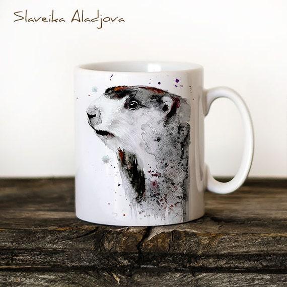 Marmot Mug Watercolor Ceramic Mug Unique Gift Coffee Mug Animal Mug Tea Cup Art Illustration Cool Kitchen Art Printed mug
