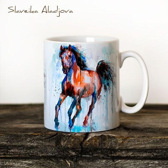 Horse Mug Watercolor Ceramic Mug Unique Gift Coffee Mug Animal Mug Tea Cup Art Illustration Cool Kitchen Art Printed mug