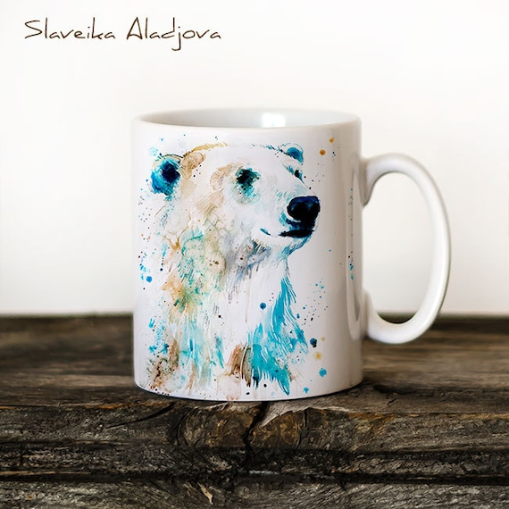 Polar bear 2 Mug Watercolor Ceramic Mug Bear Unique Gift Coffee Mug Animal Mug Tea Cup Art Illustration Cool Kitchen Art Printed mug