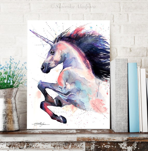 Pink Unicorn watercolor painting print by Slaveika Aladjova, animal art, illustration,wall art, home decor, wildlife, gift, Giclee Print