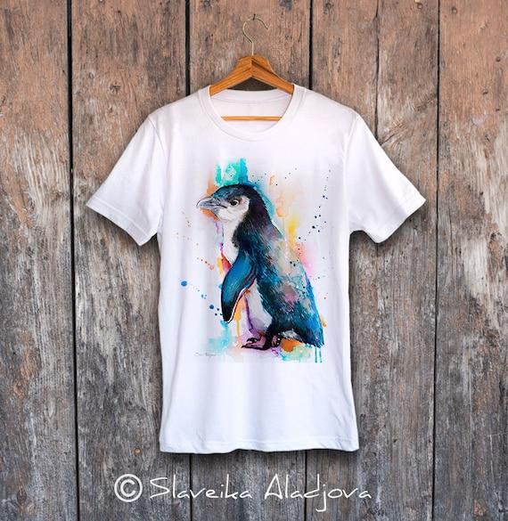 Little Blue Penguin T-shirt, Unisex T-shirt, ring spun Cotton 100%, watercolor T-shirt, T shirt art, T shirt animal, XS, S, M, L, XL, XXL
