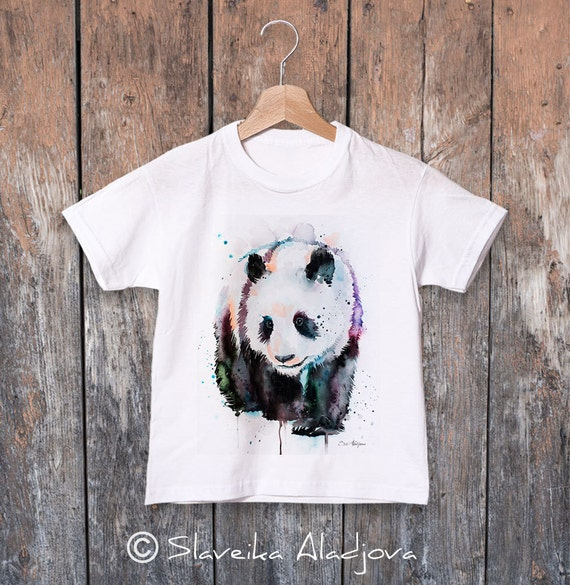 Panda watercolor kids T-shirt, Boys' Clothing, Girls' Clothing, ring spun Cotton 100%, watercolor print T-shirt, T shirt art