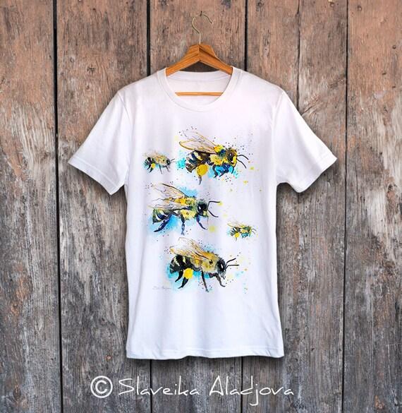 Bees 2 T-shirt, Unisex T-shirt, ring spun Cotton 100%, watercolor print T-shirt, T shirt art, T shirt animal, illustration, art,