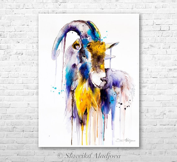 Goat 4 watercolor painting print by Slaveika Aladjova, art, animal, illustration, home decor, Nursery, gift, Wildlife, wall art