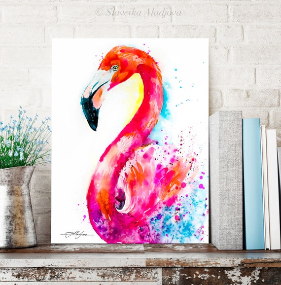 Flamingo watercolor painting print by Slaveika Aladjova, art, animal, illustration, bird, home decor, wall art, Wildlife, Contemporary