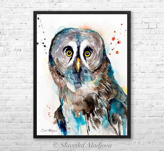 Great grey owl watercolor framed canvas by Slaveika Aladjova, Limited edition, art, animal, animal illustration,bird art