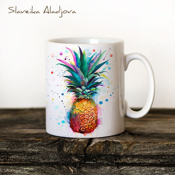 Pineapple Mug Watercolor Ceramic Mug Unique Gift Coffee Mug Animal Mug Tea Cup Art Illustration Cool Kitchen Art Printed mug
