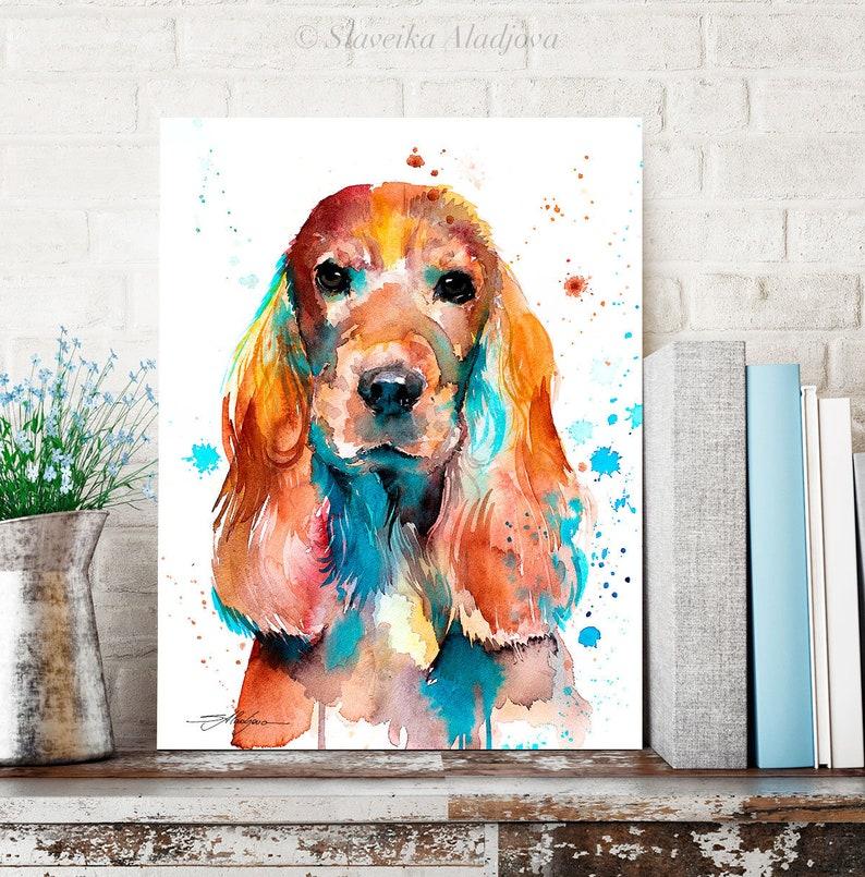 English Cocker Spaniel watercolor painting print by Slaveika image 0