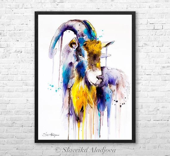 Goat 4 watercolor framed canvas by Slaveika Aladjova, Limited edition, art, animal watercolor, animal illustration,bird art