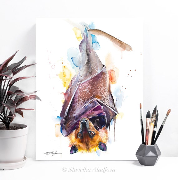 Giant golden-crowned flying fox, Golden-capped fruit bat watercolor painting print by Slaveika Aladjova, art, animal, illustration,
