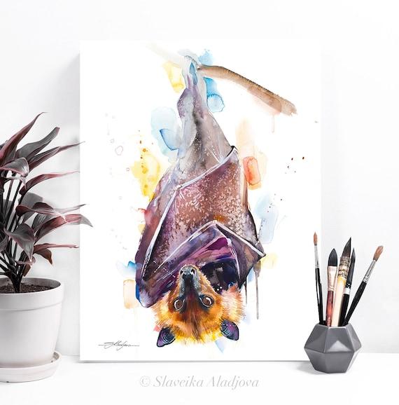 Giant golden-crowned flying fox, Golden-capped fruit bat watercolor painting print by Slaveika Aladjova, art, animal, illustration,