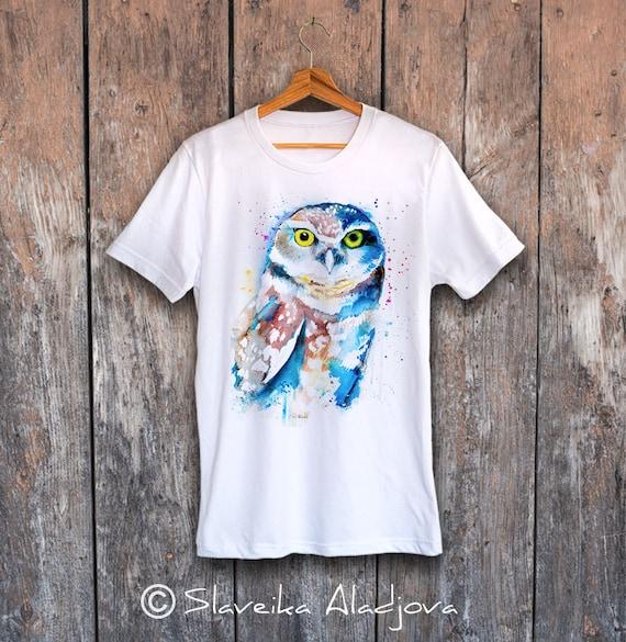 Burrowing owl T-shirt, Unisex T-shirt, ring spun Cotton 100%, watercolor print T-shirt, T shirt art, T shirt animal,XS, S, M, L, XL, XXL