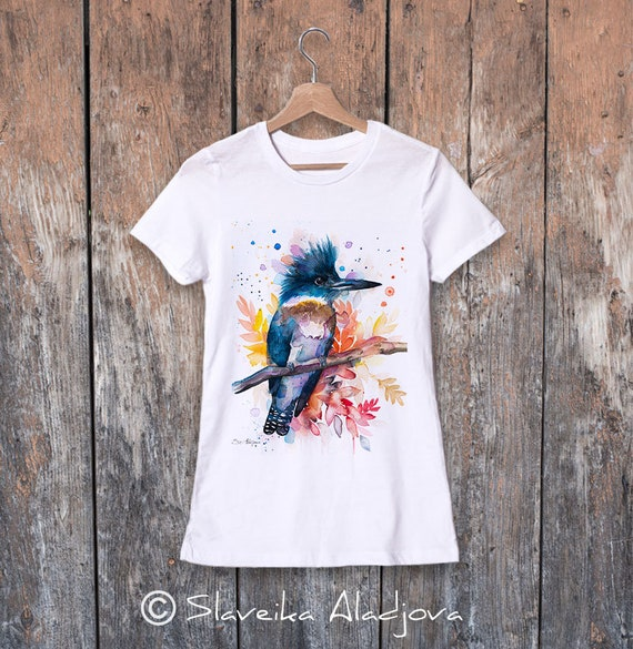 Belted kingfisher watercolor ladies' T-shirt, women's tees, Teen Clothing, Girls' Clothing, ring spun Cotton 100%, watercolor print T-shirt