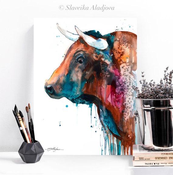 Brown Bull watercolor painting print by Slaveika Aladjova, art, animal, illustration, home decor, Nursery, gift, Wildlife, wall art