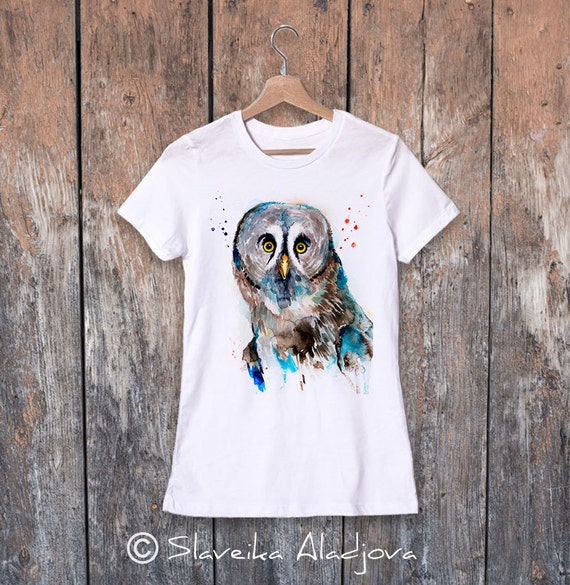 Great grey owl watercolor ladies' T-shirt, women's tees, Teen Clothing, Girls' Clothing, ring spun Cotton 100%, watercolor print