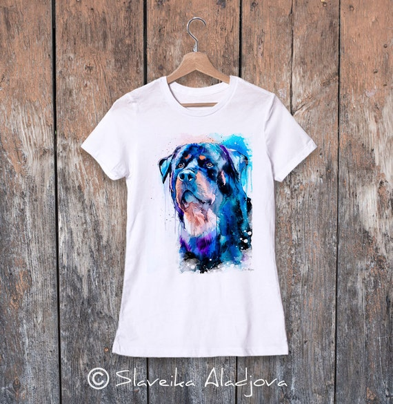 Rottweiler watercolor ladies' T-shirt, women's tees, Teen Clothing, Girls' Clothing, ring spun Cotton 100%, watercolor print