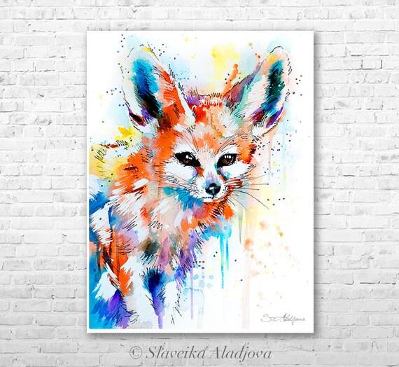Fennec Fox watercolor painting print by Slaveika Aladjova, art, animal, illustration, home decor, Nursery, gift, Wildlife, wall art