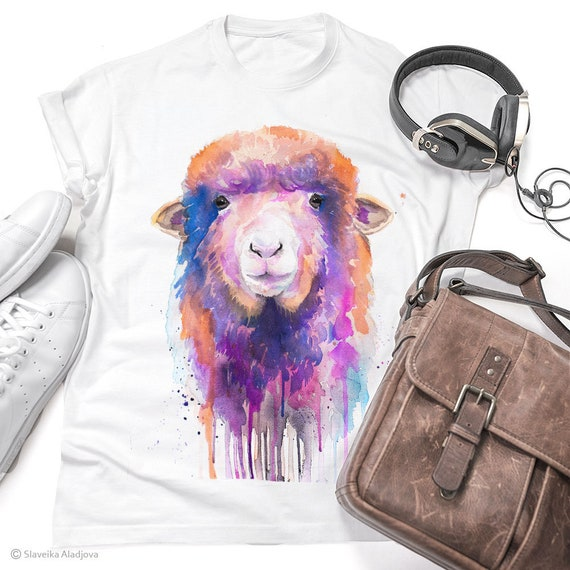 Colorful Sheep T-shirt, Unisex T-shirt with sheep print, farm animal tees, Sheep Lover Gift, watercolor print, ring spun Cotton 100%,