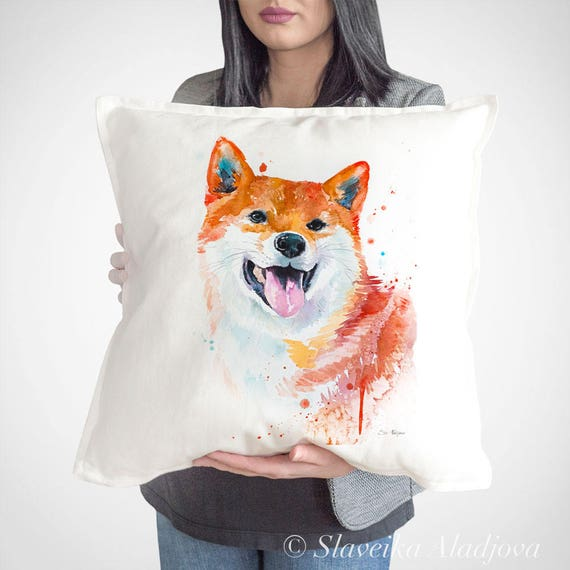Shiba Inu throw pillow cover by Slaveika Aladjova,cushion cover, Decorative Pillow Cover, Animal Art, Watercolor pillow,