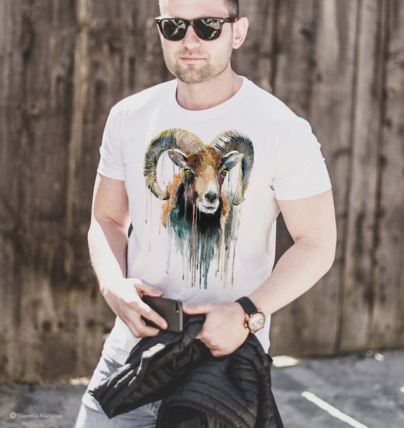 Mouflon Print T-shirt, Watercolor artwork, Cotton Tee With Animal Print, Graphic Tee, Art, Ram, Horns, Colourful