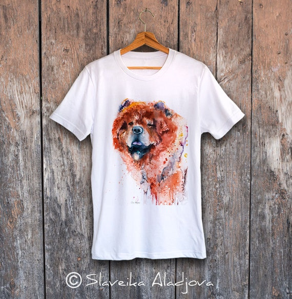Chow ChowT-shirt, Unisex T-shirt, ring spun Cotton 100%, watercolor print T-shirt, T shirt art, T shirt animal,XS, S, M, L, XL, XXL