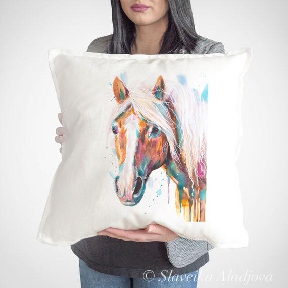 Haflinger horse throw pillow cover by Slaveika Aladjova, cushion cover, Decorative Pillow Cover, Animal Art, Watercolor pillow, Christmas
