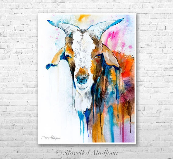 Goat 2 watercolor  painting print by Slaveika Aladjova, goat, art, animal, illustration, home decor, Nursery, gift, Wildlife, wall art