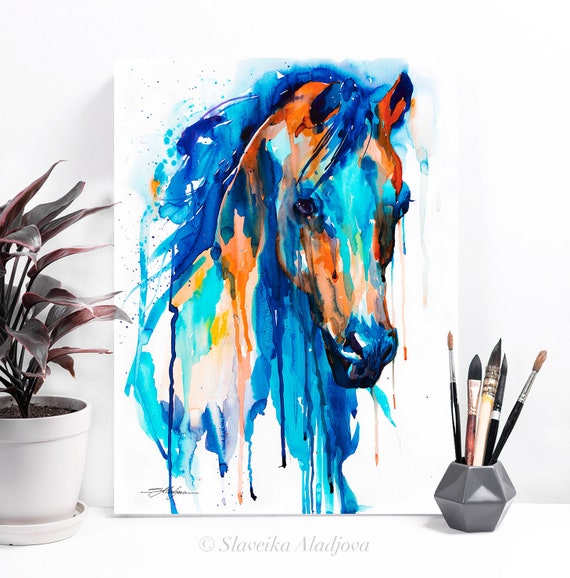 Blue Horse watercolor painting print by Slaveika Aladjova, art, animal, illustration, home decor, wall art, gift, portrait, Contemporary