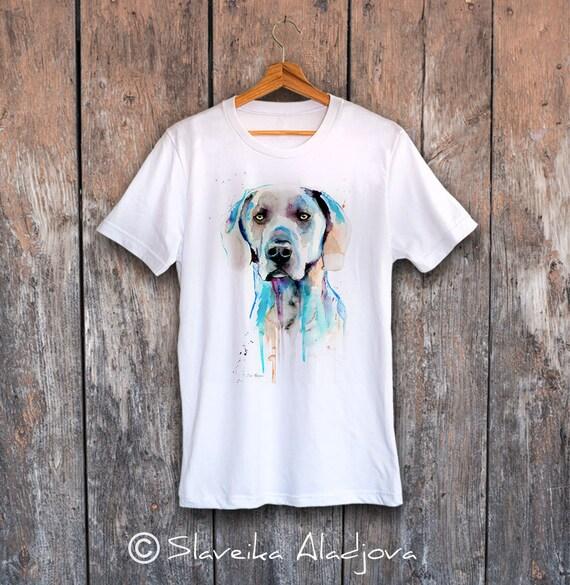 Weimaraner T-shirt, Unisex T-shirt, ring spun Cotton 100%, watercolor print T-shirt, T shirt art, T shirt animal,XS, S, M, L, XL, XXL